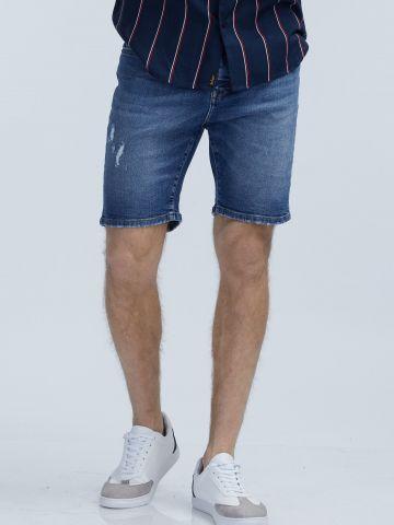 מכנסי ברמודה ג'ינס כחולים