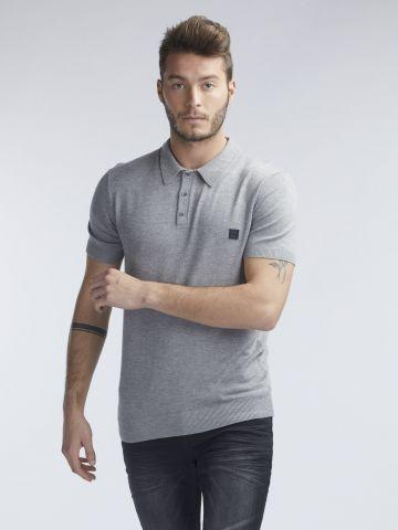 חולצת סריג פולו לוגו בצד