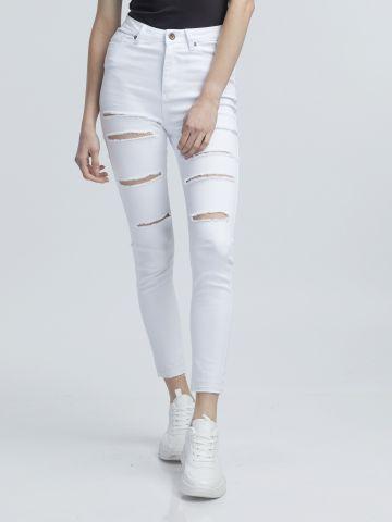 ג'ינס קרעים לבן