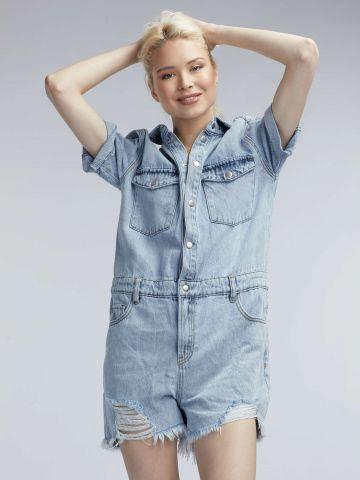 אוברול ג'ינס עם קרעים
