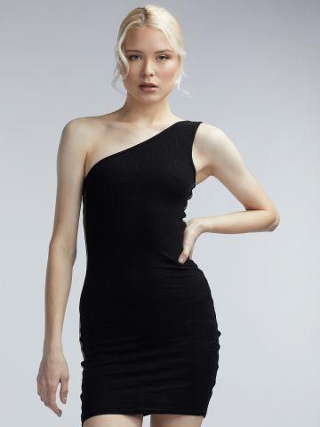 שמלת ריב אסימטרית פסי זהב