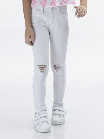 ג'ינס סקיני לבן עם קרעים