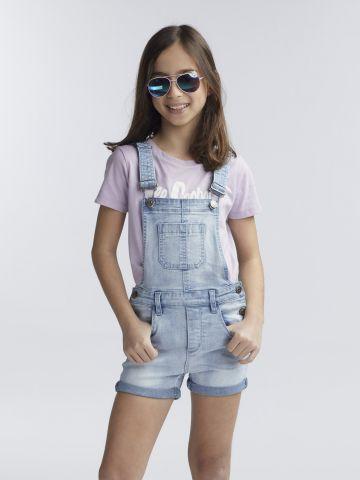 אוברול ג'ינס קצר בהיר
