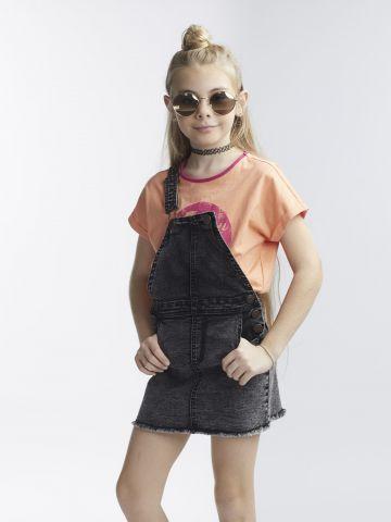 שמלת ג'ינס שחורה בגזרת סרפן