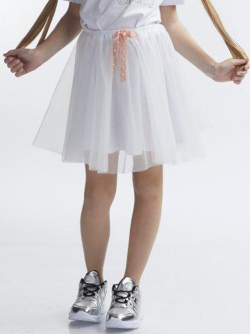 חצאית טול עם סרט פנינים
