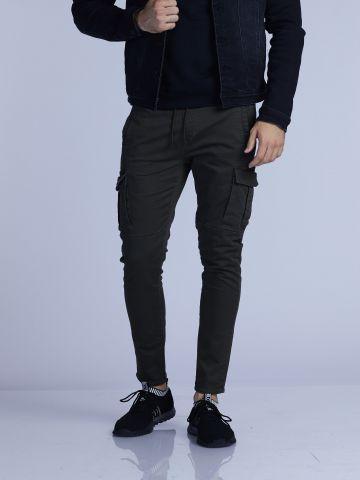 מכנסי אריג דגמח עם גומי במותן