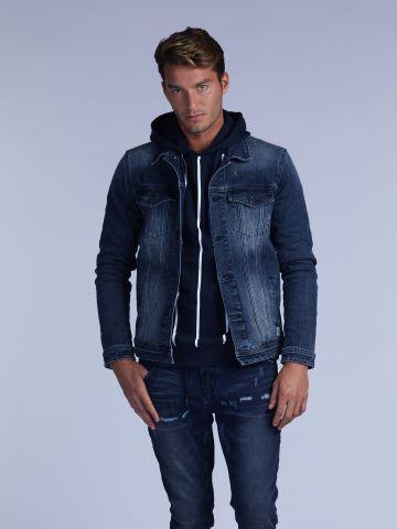 ג'קט ג'ינס כחול משופשף