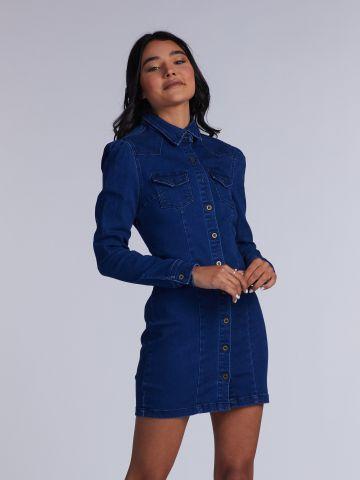 שמלת ג'וג ג'ינס מכופתרת