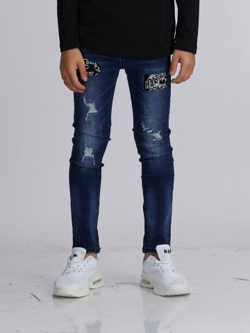 ג'ינס פצ'ים עם שפשופים