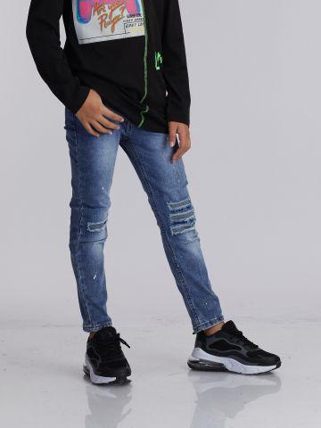 ג'ינס שטוף שרשרת כיס