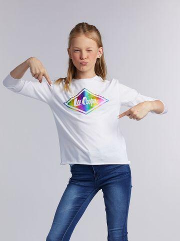 חולצת טי ממותגת הדפס צבעוני