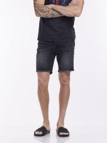 מכנסי ברמודה ג'ינס כהים DAMAGE