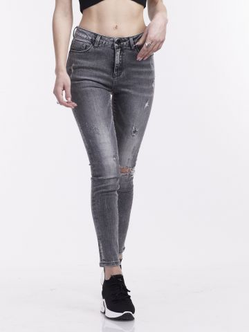 ג'ינס אפור קרעים תחתונים