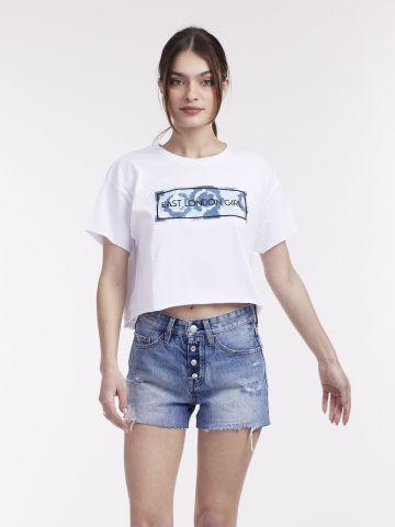 חולצה קצרצרה עם הדפס מדליק
