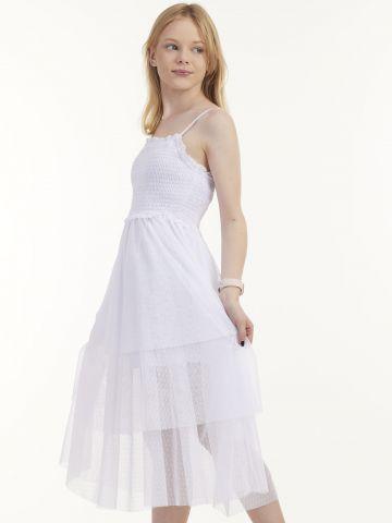 שמלה כפרית ארוכה עם שכבות