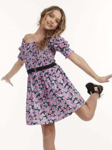 שמלה משולבת חגורה
