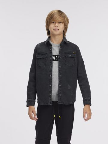 חולצת ג'ינס עם הדפס בגב