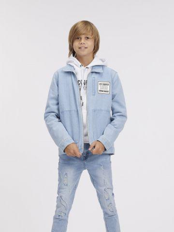 ג'קט ג'ינס קלאסי עם הדפס לוגו