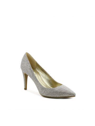 נעלי עקב מחודדות בצבע זהב