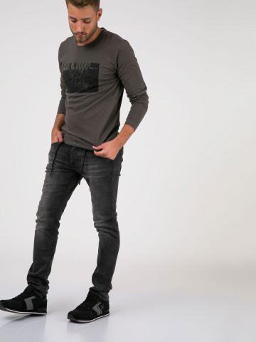 ROOK סלים ג'ינס שחור משופשף