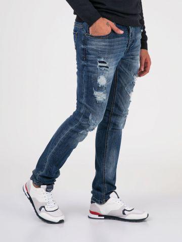 ROOK ג'ינס סלים כחול משופשף
