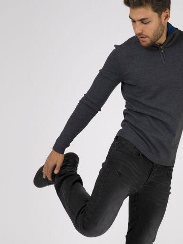 JAMES ג'ינס שחור גזרה ישרה