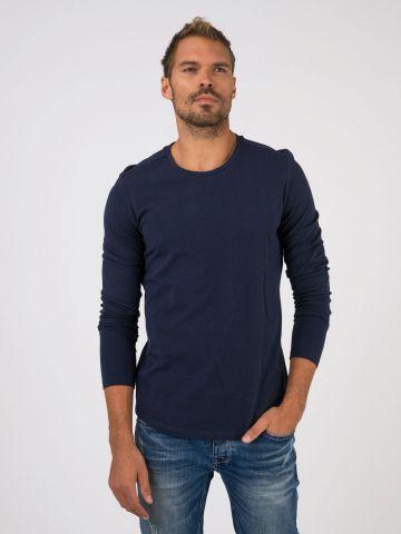 חולצת בייסיק ארוכה נייבי