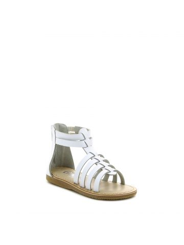 סנדלי גלדיאטור רצועות בצבע לבן