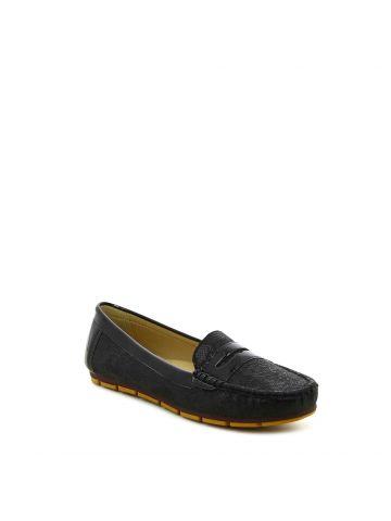 נעלי מוקסין מנוחשות שחור