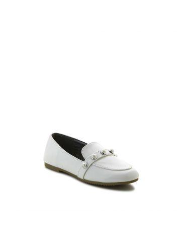 נעלי מוקסין לבנות עם פנינים