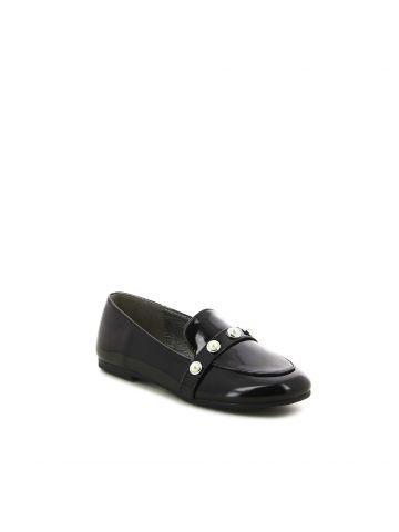 נעלי מוקסין שחורות עם פנינים