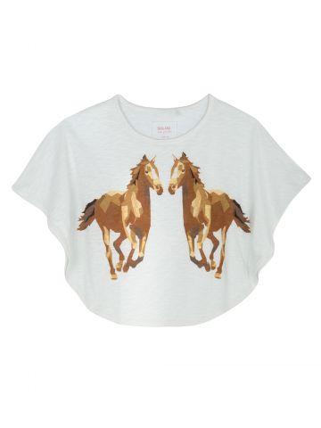 חולצת קצרה עם הדפס סוסים