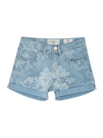 מכנסי שורט ג'ינס פרחוניים