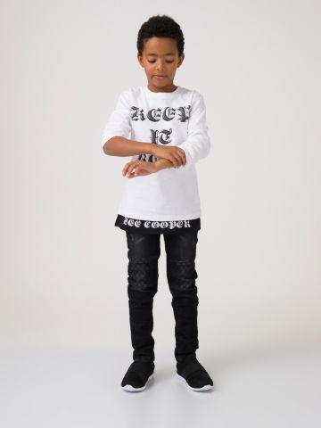 חולצת טי שירט שחור לבן