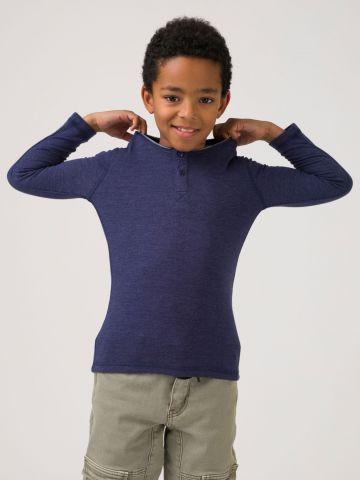 חולצת טי כפתורים נייבי