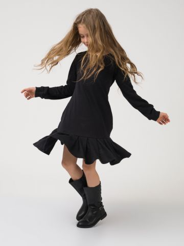 שמלה משוחררת עם סיומת וולן
