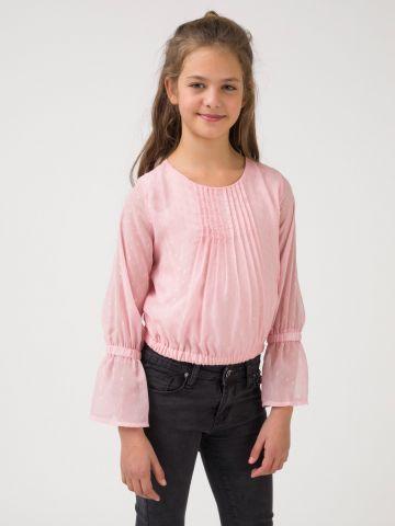 חולצת שיפון ארוכה ורודה