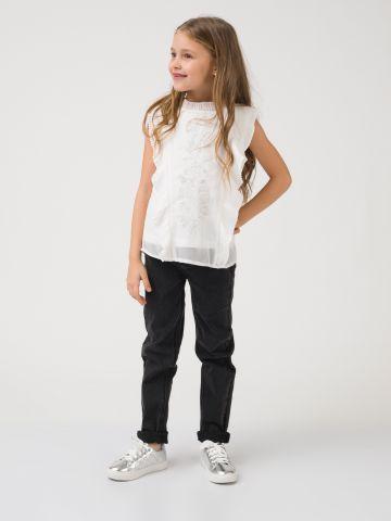 חולצת שיפון חגיגית לבנה