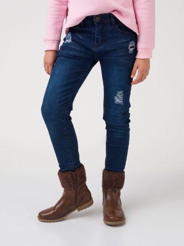 ג'ינס קרעים כחול