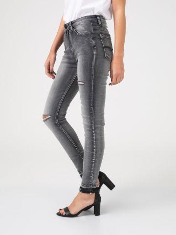 LOLA ג'ינס קרעים אפור גבוה