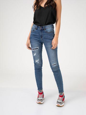 PEARL ג'ינס קרעים במראה יוזד