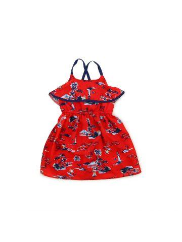 שמלת דנטל צבעונית לילדות מידות 1-3
