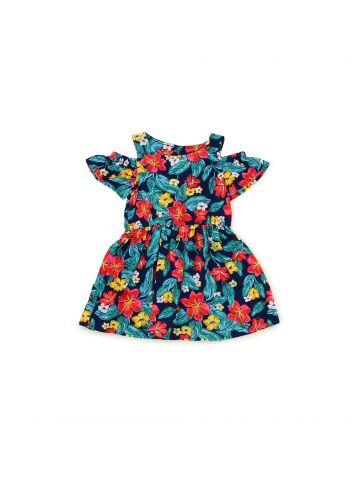 שמלה פרחונית עם חיתוכי כתפיים מידות 1-3