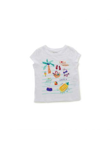 חולצת טי הדפס חוף ים מידות 4-8