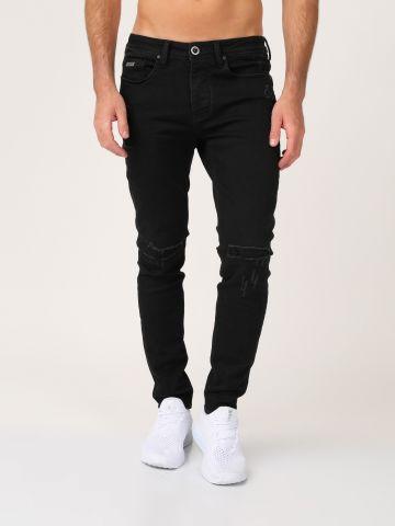 ג'ינס אורבני שחור קרעים סגורים
