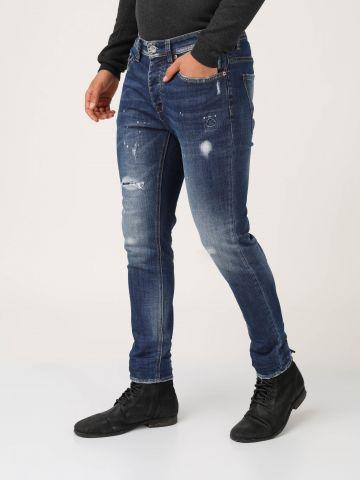 ג'ינס כחול אפקט שפריץ