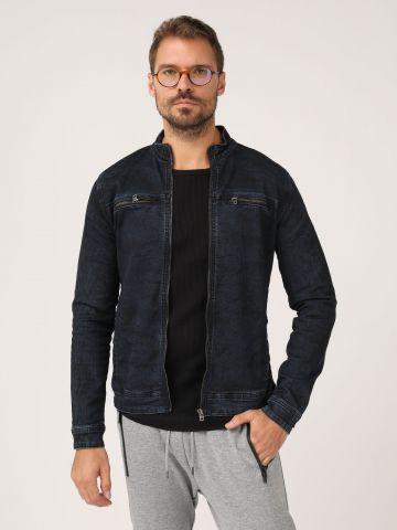 ג'קט ג'ינס כהה צווארון גבוה