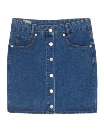 חצאית ג'ינס מיני כפתורים