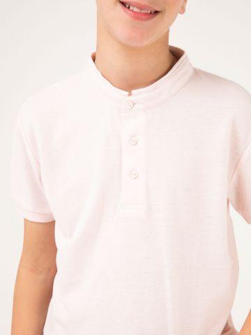 חולצת פולו צווארון גבוה