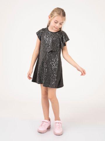 שמלת וולן עם הדפס פאייטים